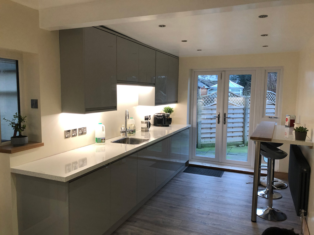 A kitchen rewire in Royton. A complete rewire of all lighting and power.